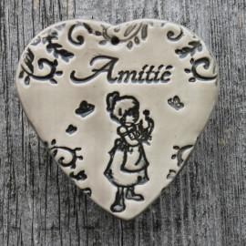 """faïence coeur """"Amitié"""" (petite fille à la rose)"""
