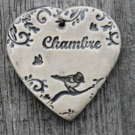 """faïence coeur """"Chambre"""" (mésange)"""