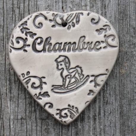 """faïence coeur """"Chambre"""" (cheval à bascule)"""