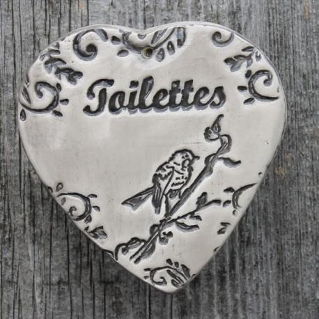 "faïence coeur ""Toilettes"" (oiseau)"