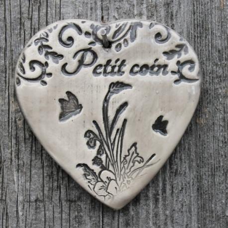 """faïence coeur """"Petit coin"""" (bouquet printanier)"""