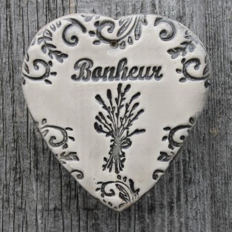 "faïence coeur ""Bonheur"" (lavande)"