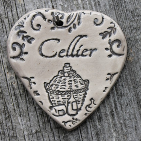 """faïence coeur """"Cellier"""" (bouteilles)"""