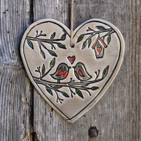 Coeur - Duo  d'oiseaux - Grand modèle